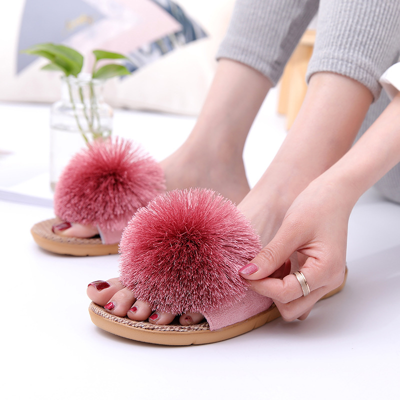 Suihyung Summer Indoor Linen Slippers Home Casual Floor Shoes Woman Flax Slippers New Hairball Flat Sandals Slides Flip FlopsSuihyung Summer Indoor Linen Slippers Home Casual Floor Shoes Woman Flax Slippers New Hairball Flat Sandals Slides Flip Flops