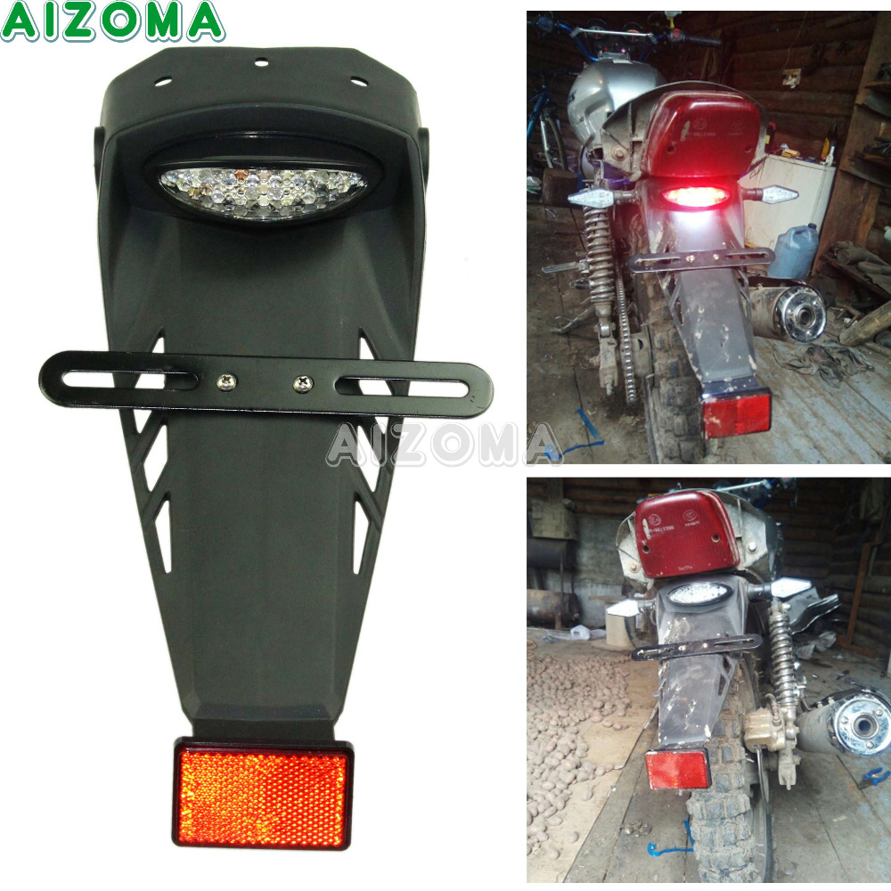 Motorcycle LED Brake Taillight W/Rear Fender License Plate Holder Red Reflector For KTM Honda Yamaha G450 XR400 KLX450R DRZ400S