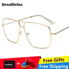 Eyewears Vintage Square Mens Eyeglasses Frames Luxury Designer Gold Color Clear Glasses Male Spectacle 2019 New