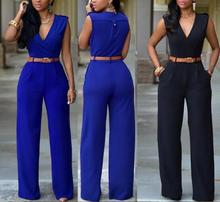 Women Jumpsuit Long Pants Rompers Sleeveless V-neck 2019 Summer Wide Leg Pants Jumpsuits With Belt Sexy Club Party Overalls