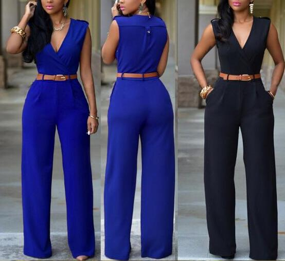 Women Jumpsuit Long Pants Rompers Sleeveless V-neck 2020 Summer Wide Leg Pants Jumpsuits With Belt Sexy Club Party Overalls