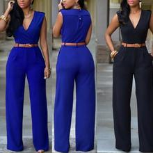 Women Jumpsuit Long Pants Rompers Sleeveless V-neck 2020 Summer Wide Leg Pants