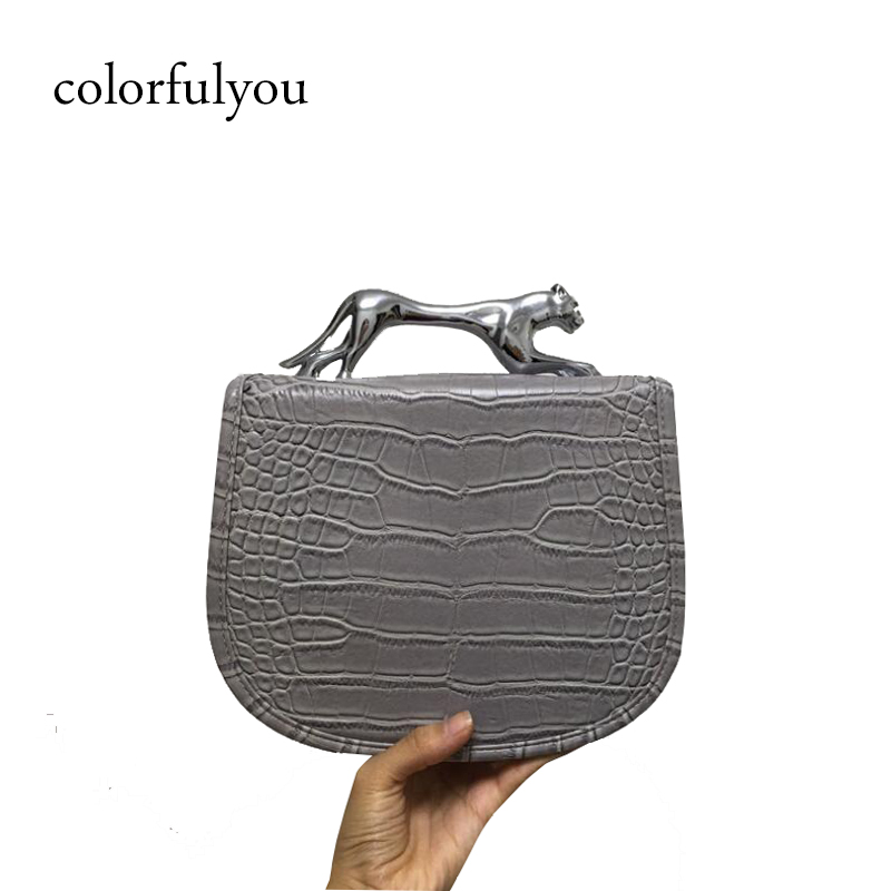 2019 famous brand fashion women handbags retro Alligator pu leather crossbody bags shoulder bags Metal Leopard Handle tote bags