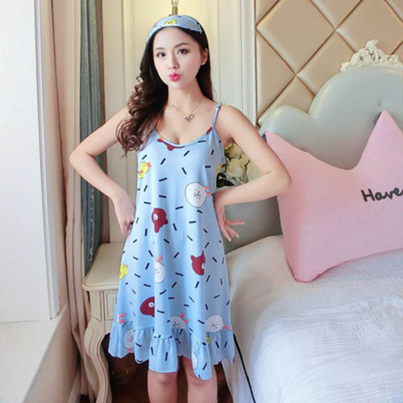 Women Night Dress With Eyemask Sexy Lingerie Nightgown Sleep Wear Plus Size Underwear Spaghetti Strap Sleeping Dress For Women