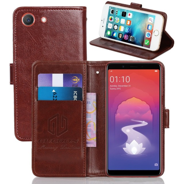 new arrival 8a288 6e069 US $3.99 20% OFF|GUCOON Vintage Wallet Case for OPPO Realme 1 6.0inch PU  Leather Classic Book Flip Cover Magnetic Fashion Cases-in Wallet Cases from  ...