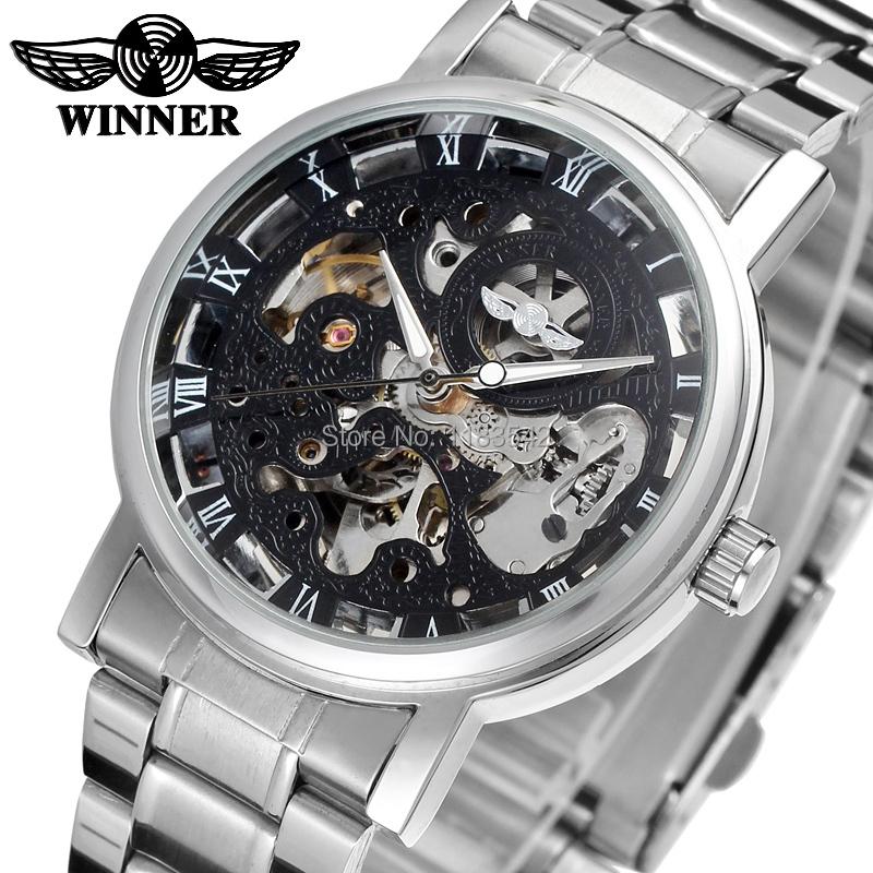 568577b4de9 Winnner SteelBand Inoxidável Relógio de Vestido Automático Esqueleto  Transparente dos homens Relógio de Pulso do Esporte