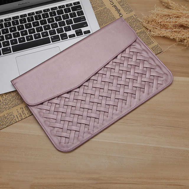 Luxury PU Leather Laptop Bag Case For Macbook Air Pro Retina 11 12 13 15  Weaving Protective Sleeve Pouch Bag For Mac book Cover