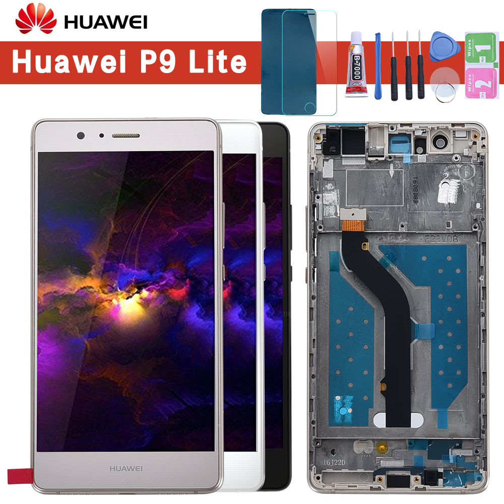 2016 5.2 ''LCD d'origine pour HUAWEI P9 Lite écran d'affichage avec cadre pour HUAWEI P9 Lite VNS-L31 d'affichage LCD L21 L19