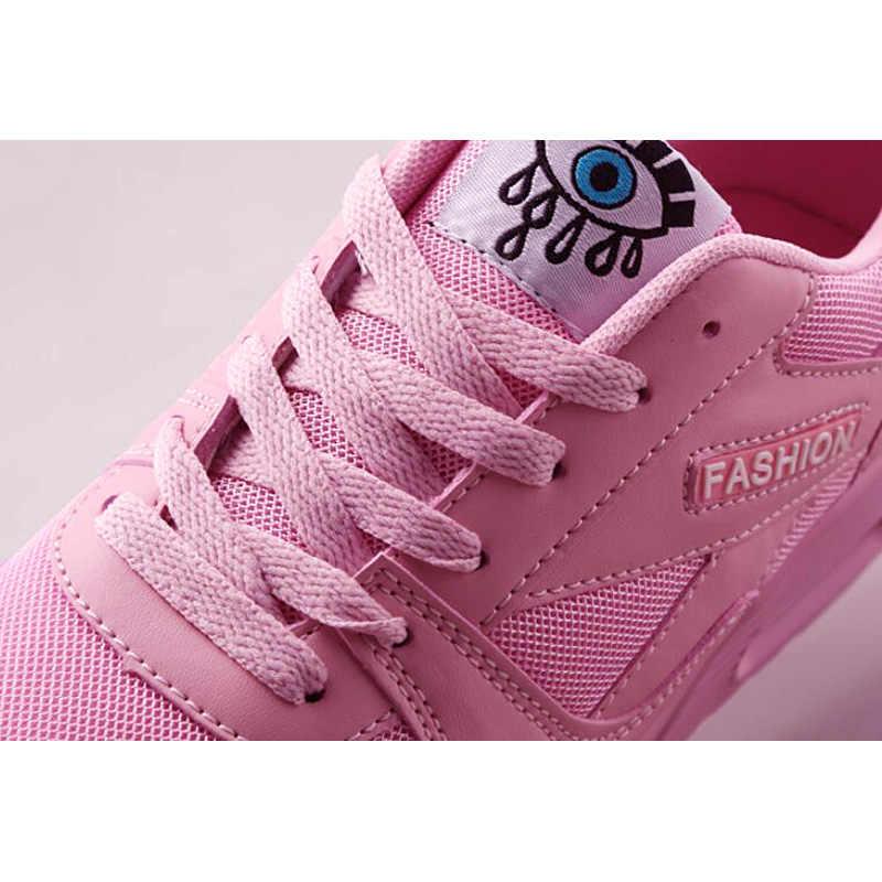 Vrouwen Sneakers Ademende Outdoor Wandelschoenen Vrouw Mesh Casual Schoenen Roze Kant-Up Dames Schoenen 2019 Mode Vrouwelijke Sneakers