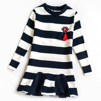NEW Spring Long Sleeve Dresses For Girls Striped Casual Party Dress Teenage Girls Clothing 10 12