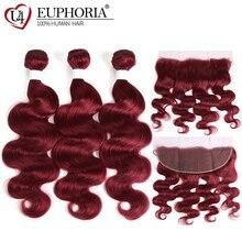 Body Wave Lace Frontal With Human Hair 2/3 Bundles EUPHORIA 99J/Burgundy Red Color Brazilian Remy Bundle Closure 13x4