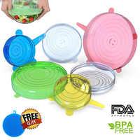 6 unids/set tapas reutilizables de silicona de grado alimenticio tapas de silicona para alimentos tapas de derrames para alimentos plato accesorios de cocina