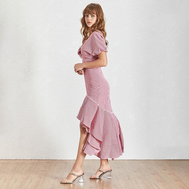TWOTWINSTYLE-Vintage-Plaid-Women-Dress-V-Neck-Puff-Sleeve-High-Waist-Hollow-Out-Slim-Asymmetrical-Dresses (2)