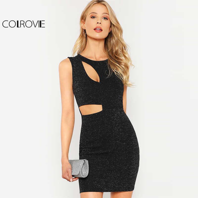 6d96a5a0711 COLROVIE черное платье с вырезами и блестками женское платье с круглым  вырезом без рукавов с высокой