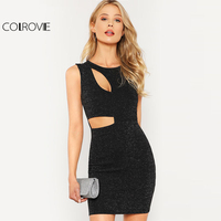 Colrovie黒カットアウトグリッタードレス女性ラウンドネックノースリーブハイウエストセクシーなパーティードレス2018春短いボディコンドレ