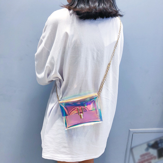 Women Transparent Bag Clear PVC Jelly Small Tote Messenger Bags Laser Holographic Shoulder Bags Female Lady Sac Femme Bandoulier 3