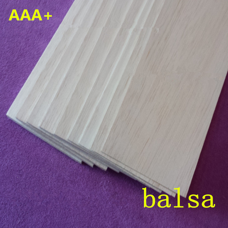 AAA+ Balsa Wood Sheet ply 1000mmX100mmX6mm 10 pcs/lot super quality for airplane/boat DIY free shipping