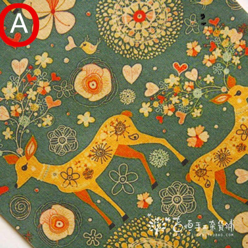 手染めコットンリネンキルト生地 Diy ミシンパッチワークホームテキスタイルインテリアの財布バッグ工芸品クッション猫 & 鹿 20 × 30 センチメートル