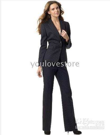 Pinstripe Women Suit Brand Women Suit Accept Custom Suit Black ...