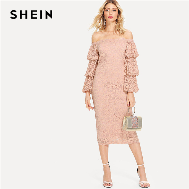60bc35d211 SHEIN Pink Party Elegant Tiered Layer Flounce Long Sleeve Off The Shoulder  Lace Pencil Dress Summer Women Going Out Dresses