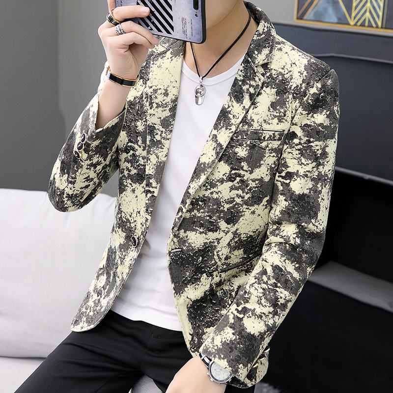 Period  Personality 2020 Printing Fashion Trend In Men's Suit Of Cultivate One's Morality Floral Handsome Cowboy Leisure Suit