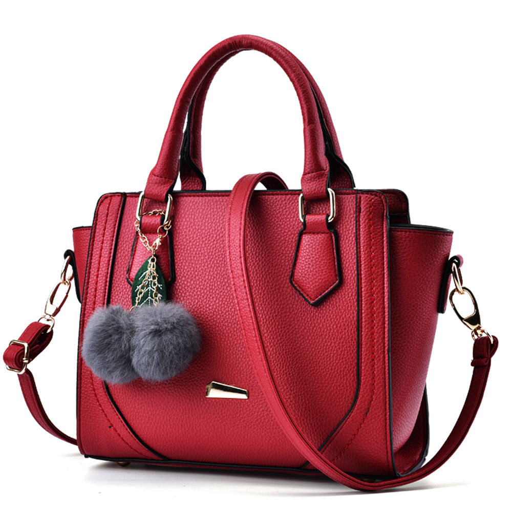 Red Vogue Litchi Trace PU Leather Women Shoulder Bag Girl Black Fashion Shopping Handbag Soft Casual Travel Crossbody Pack