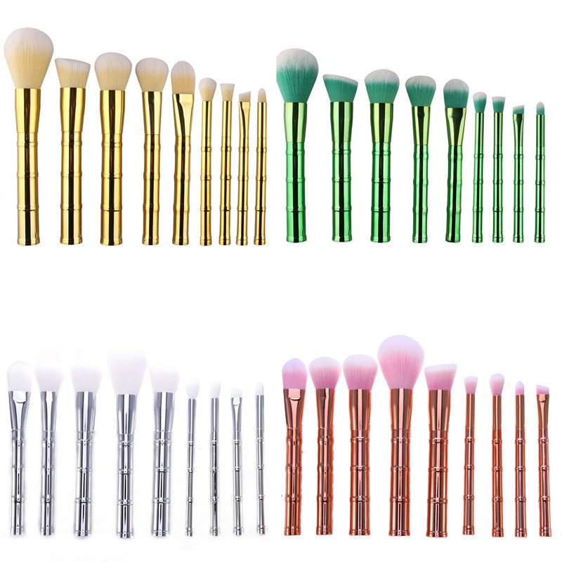 9pcs Maquiagem Bamboo shaped Makeup Brushes Set Face Powder Foundation Cotour Blusher Eyeshadow Cosmetic Makeup Brushes kit Tool 7 pcs cosmetic face cream powder eyeshadow eyeliner makeup brushes set powder blusher foundation cosmetic tool drop shipping
