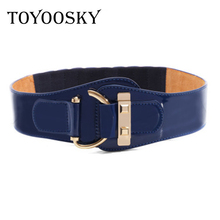 Elastic for Women Patent Leather Waist Belt Sealing Super Joker Wide Female Fashion Ladies