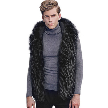 Nice Fashion Winter Men Fur Vest Hoodie Hooded Thick Fur Warm Waistcoats Sleeveless Coat Outerwear Male Jackets Plus Size 7Q2111