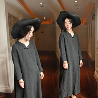 2017 New Mori Girl Vintage Handmade Plate Buttons One Piece Dress High Quality Water Wash Linen
