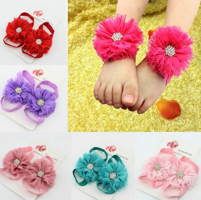 2017 New Fashion Baby Girls Newborn BB Bebe Infant Sandals Foot Flowers Shoes Socks Photo Props Accessories Flower Footwear