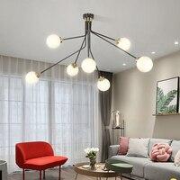 SGROW Nordic Magic Bean Люстра для Гостиная столовая современные металлические Стекло абажур подвесной светильник Art светильники