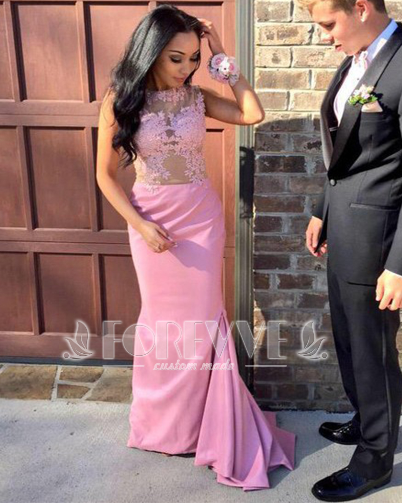 Elegant Pink Satin   Prom     Dress   Long 2019 Appliques Sheer Wedding Party   Dresses   Bridesmaid Gowns Vestidos De Fiesta Abendkleider