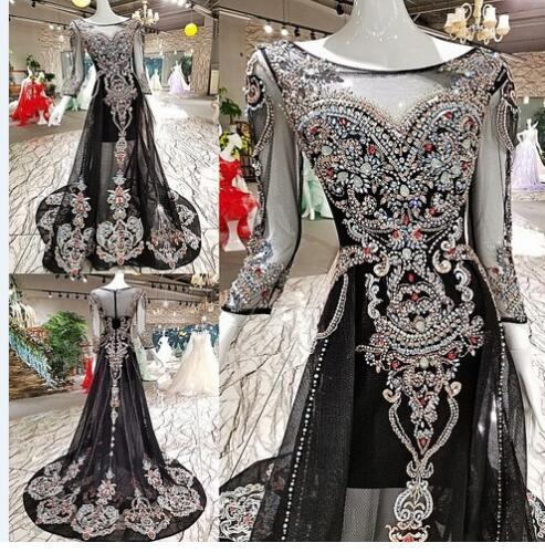 Black 3/4 Long Sleeves Evening Dresses