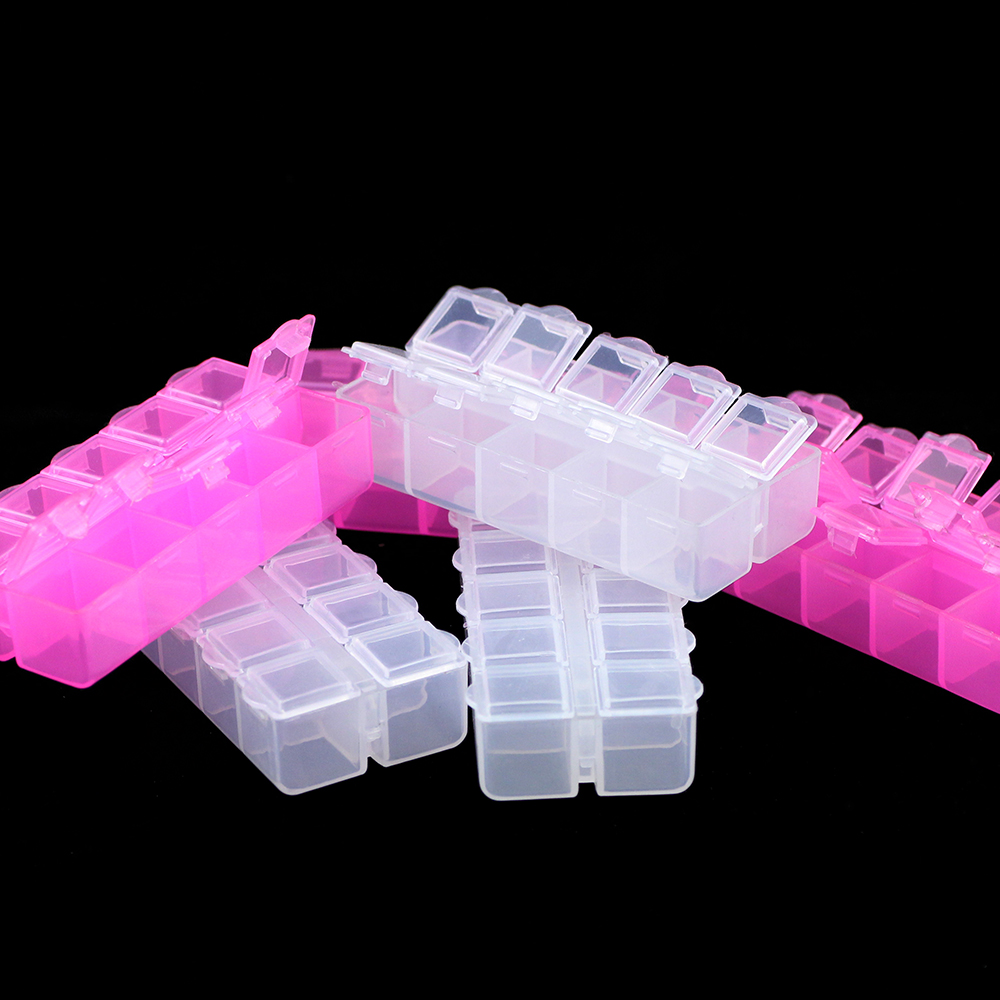 JHNBY Plastic Rectangle small 10 Grid Compartment Storage Box Earring Jewelry Beads Case Container Display Organizer pillbox