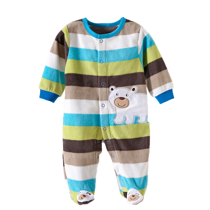 0-12M Baby Boy Rompers Long Sleeve O-Neck Fleece Newborn Baby Boy Clothes Jumpsuits Overall Baby Boy Rompers Spring Autumn V20C