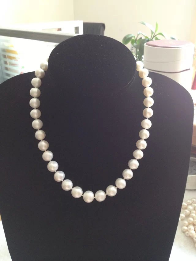 9-10mm Natural Freshwater Cultured Pearl Eternal Necklace Pendant Women Jewelry