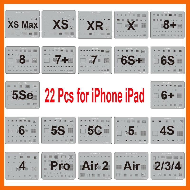 22 Pcs/lot IC Chip BGA Reballing Stencil Kits Set Solder Template For IPhone XS Max XR X 8 7 6s 6 Plus SE 5S IPad Motherboard