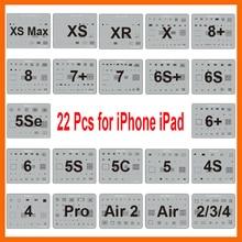 22 개/몫 IC 칩 BGA Reballing 스텐실 키트 세트 솔더 템플릿 for iPhone XS Max XR X 8 7 6s 6 plus SE 5S iPad 마더 보드
