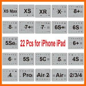 Image 1 - 22 Pcs/lot IC Chip BGA Reballing Stencil Kits Set Solder Template for iPhone XS Max XR X 8 7 6s 6 plus SE 5S iPad Motherboard
