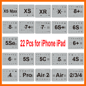 Image 1 - 22 Teile/los IC Chip BGA Reballing Schablone Kits Set Solder Vorlage für iPhone XS Max XR X 8 7 6s 6 plus SE 5S iPad Motherboard