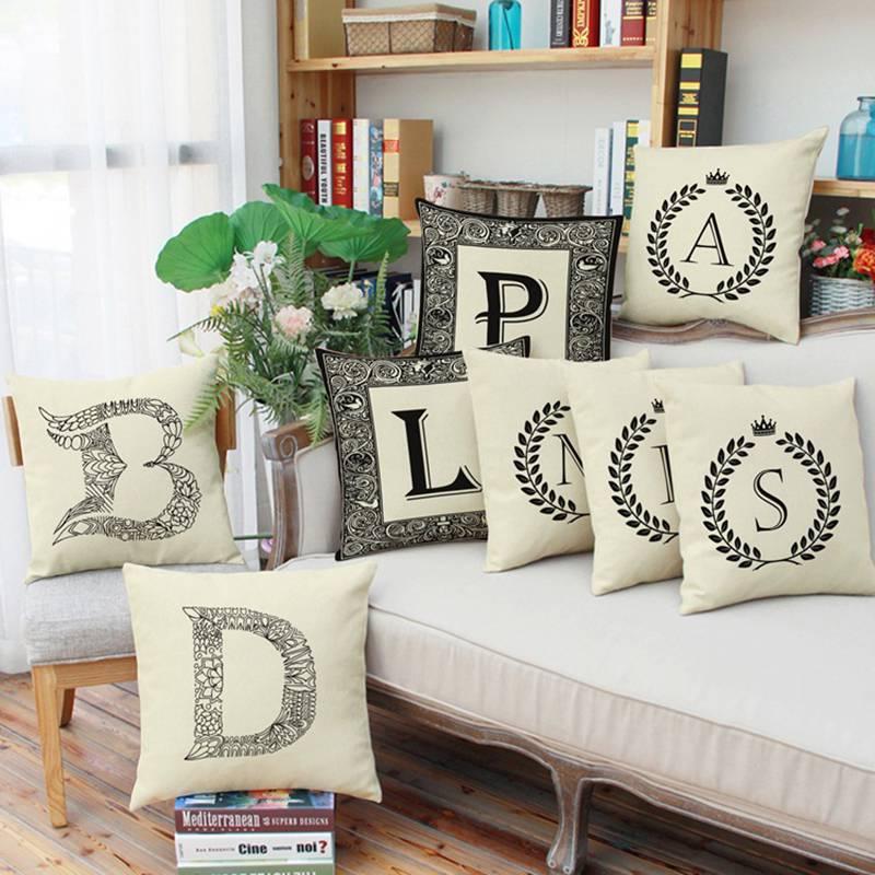 Fashion Letter Series Cushion Cover Home Decor Pillow Cases Cotton Linen  housse de coussin Sofa Bedroom. Online Get Cheap Bedroom Decorative Pillows  Aliexpress com