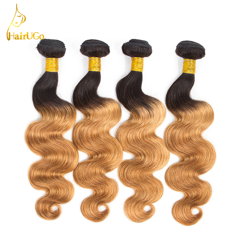 HairUGo Hair Pre-colored 4 Bundles Brazilian Hair Extensions #1B/27 2 Tone Ombre Body Wave Non Remy Human Hair 8-26Inch