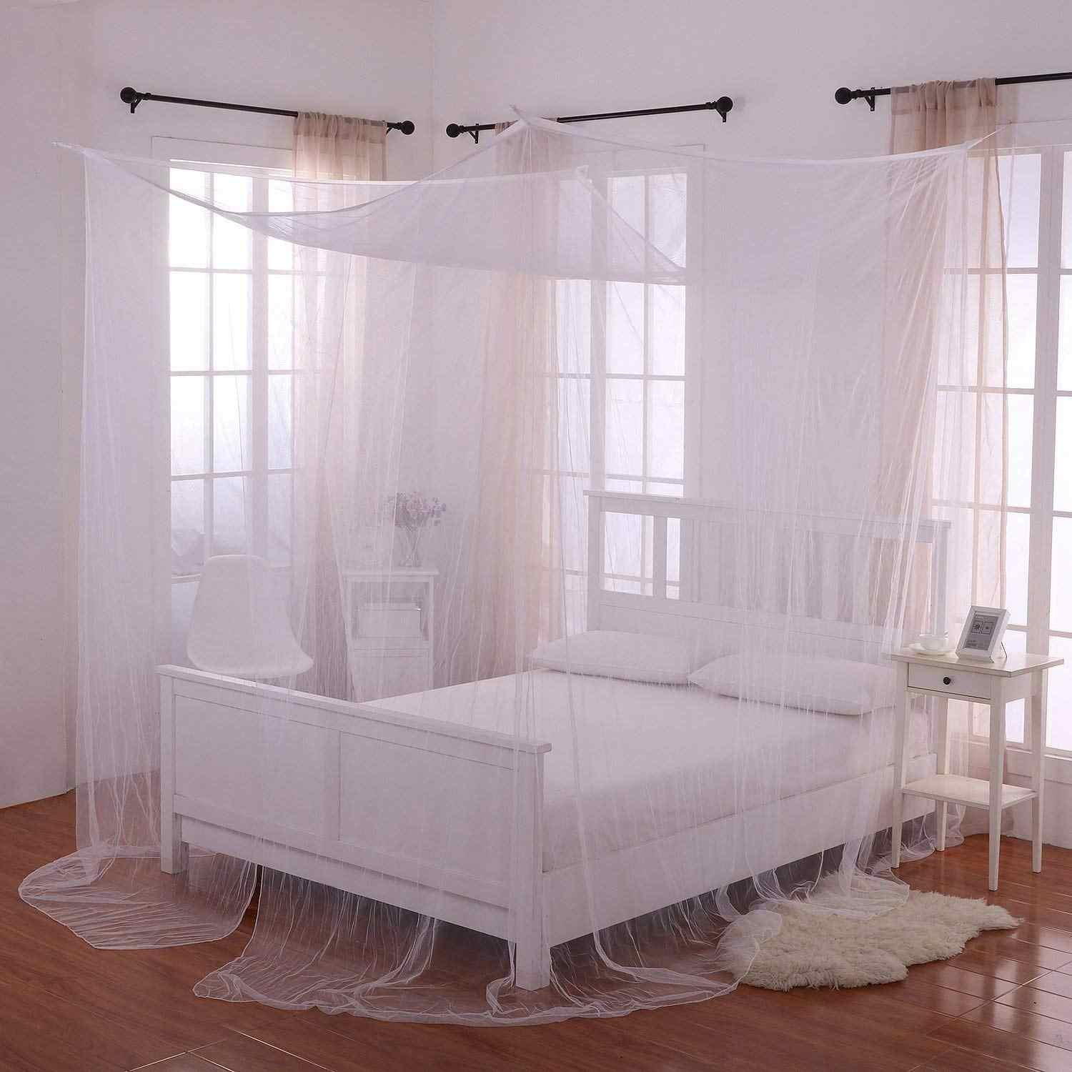 Interiors Ciel De Lit 190x210x240cm european style 4 corner post bed canopy mosquito net full  netting bedding ciel de lit moustiquaire beds kids room