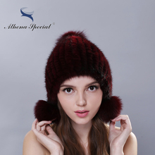 2016 Cheap Real Mink Fur Hat For Women Warm Knitted Mink Fur Beanies Cap Mink Fur Pom Poms New Thick Girls Cap Hat