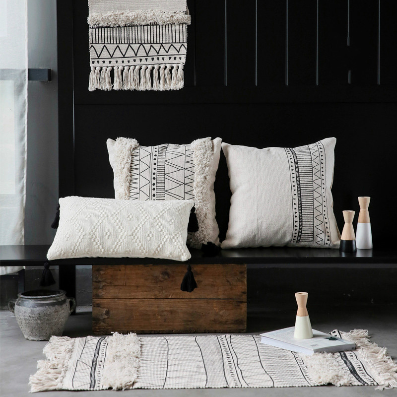 Brilliant Us 15 71 21 Off 45X45Cm Cojines Decorativos Para Sofa Morocco Geometric Black And White Tufted Tassel Pillowcase Christmas Pillow Case In Cushion Pabps2019 Chair Design Images Pabps2019Com