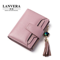 A new leather lady short purse, seventy percent off tassel purse, one zero wallet