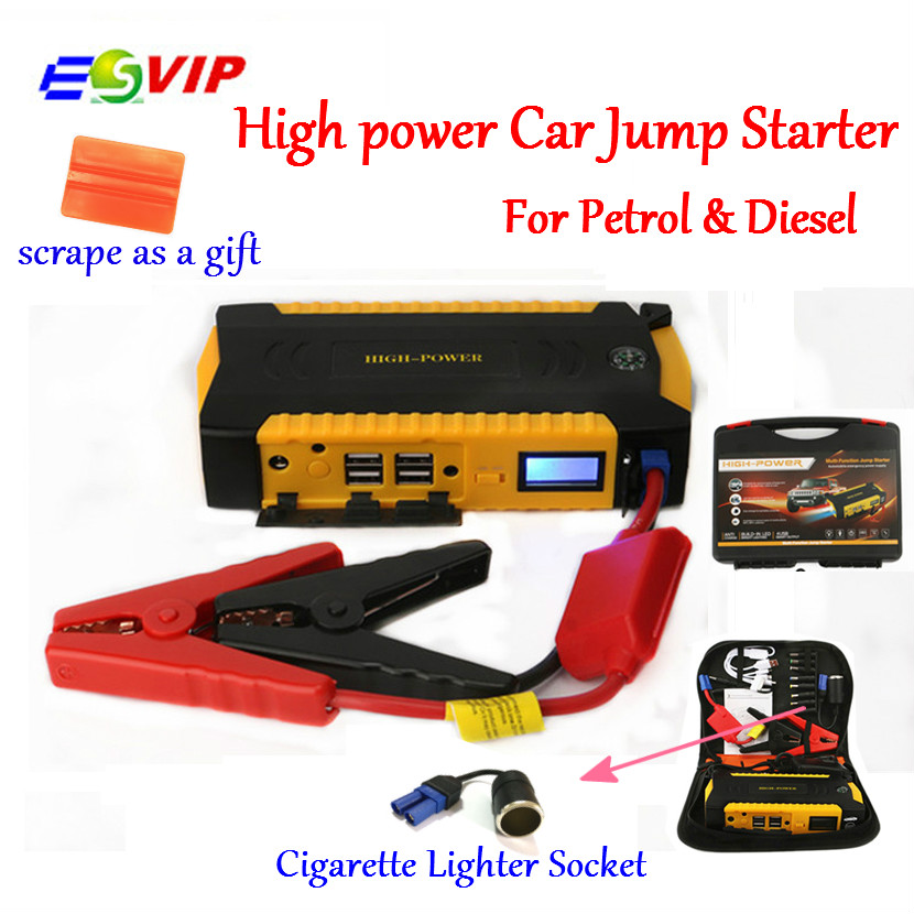 Saut Démarreur Booster Batterie De Voiture D'urgence De Voiture de Départ et borne de recharge avec 16000 mAh 600A Courant de Crête Smart Power Clips