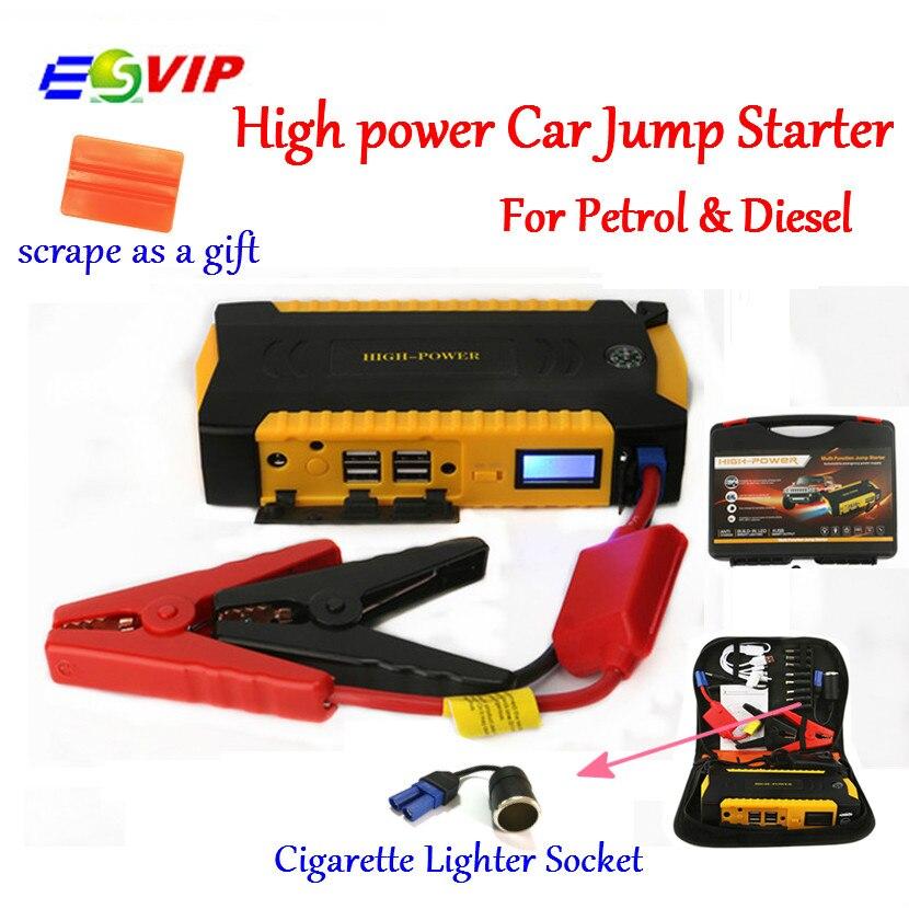 Starthilfe Booster Auto Batterie Notfall Auto Start und Lade System mit 16000 mah 600A Spitzenstrom Smart Power Clips