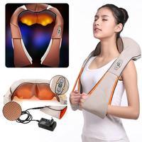 Electrical Massagem Electrical Shiatsu Back Neck Shoulder Infrared Heated Kneading Massager Car/Home for Health Care EU plug